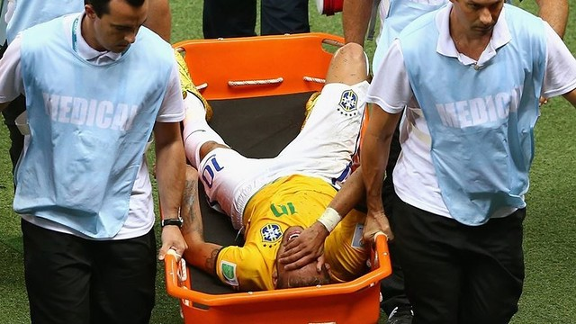 Neymar Jr was stretchered off against Colombia / PHOTO: FIFA.COM