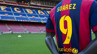 Suárez's kit at the Camp Nou