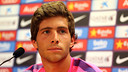 Sergi Roberto spoke to the media on Monday morning. PHOTO: MIGUEL RUIZ-FCB.