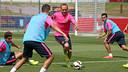 Andrés Iniesta durant l'entrenament matinal d'aquest dimarts / FOTO: MIGUEL RUIZ - FCB