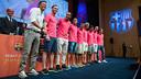 Luis Enrique and the summer signings at the Palau de Congressos / PHOTO: GERMÁN PARGA-FCB