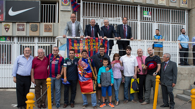 group of people in front of Camp Nou