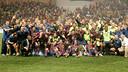 The team celebrating the 2009 European Super Cup win. PHOTO: MIGUEL RUIZ-FCB.