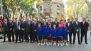FC Barcelona representatives at the floral offering/ PHOTO: VICTOR SALGADO-FCB