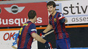 Panadero y Álvarez celebran uno de los goles ante el Reus / FOTO: FEP