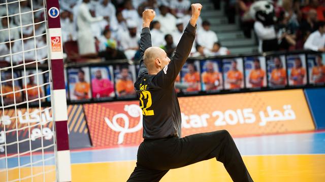 Saric, celebrant un gol blaugrana. /FOTO:ARXIU-FCB