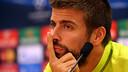 Gerard Piqué was speaking from the pressroom at the Ciutat Esportiva / PHOTO: MIGUEL RUIZ - FCB