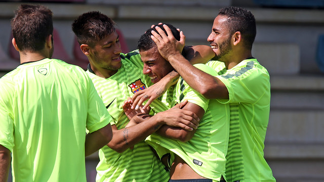 Neymar, Rafinha and Douglas trained ahead of Wednesday's UCL debut. PHOTO: MIGUEL RUIZ-FCB.