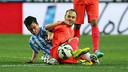 Iniesta et Juanpi. PHOTO: MIGUEL RUIZ-FCB.