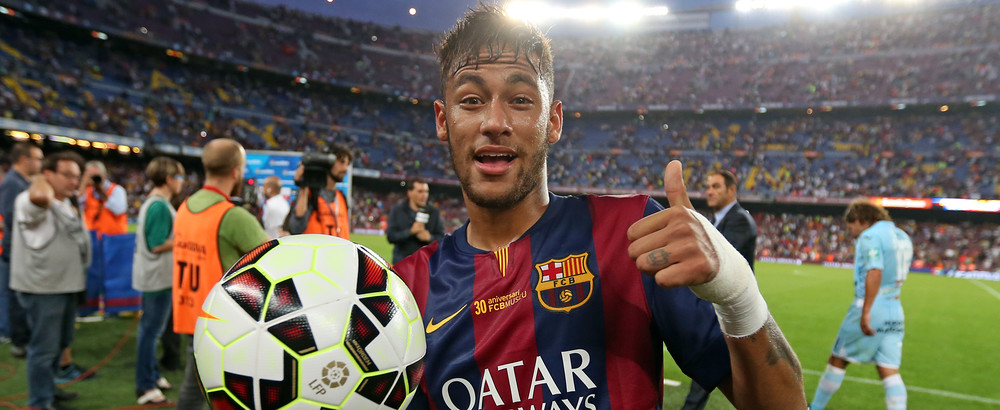 Neymar holding the match ball after his hat trick