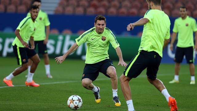 Messi, durante el entrenamiento. FOTO: MIGUEL RUIZ - FCB