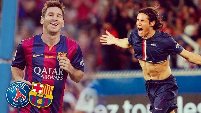 Messi i Cavani / FOTOMUNTATGE FCB