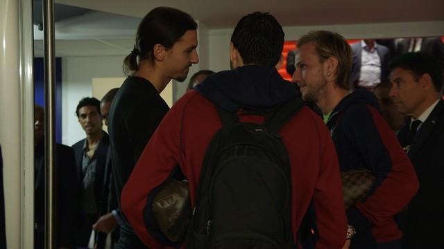 Ibrahimovic parlant amb Rakitic