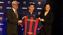 Rossich, Messi y Vegas, durante el acuerdo con Gillette. FOTO: MIGUEL RUIZ - FCB