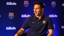 Messi, lors de la présentation. PHOTO: MIGUEL RUIZ-FCB.