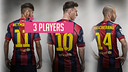 Neymar Jr, Leo Messi y Javier Mascherano prueban la canasta con la cabeza