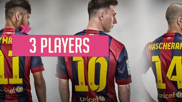 Neymar Jr, Leo Messi i Javier Mascherano proven la cistella amb el cap