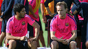 Luis Suárez et Rakitic, mercredi / PHOTO: MIGUEL RUIZ-FCB