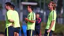 Xavi, Messi and Rakitic all trained on Tuesday morning. PHOTO: MIGUEL RUIZ-FCB.