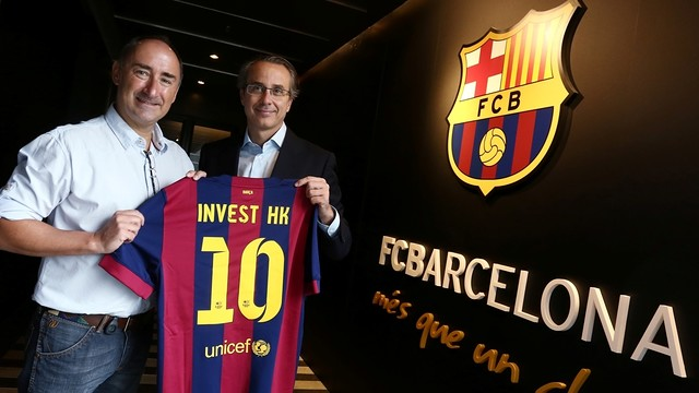The CEO of Invest Hong Kong, Simon Galpin, and the vicepresident of the Club Javier Faus / FCB