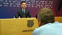 Josep Maria Bartomeu was describing the agreements made at today's Board meeting / PHOTO: MIGUEL RUIZ - FCB