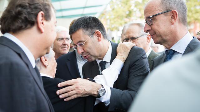 President Bartomeu and vice-president Cardoner offered their condolences to Biosca's widow / PHOTO: GERMAN PARGA - FCB