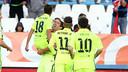 Luis Suárez and Jordi Alba celebrate the game-winning goal / PHOTO: MIGUEL RUIZ-FCB