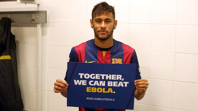 Neymar Jr com o lema 'Juntos podemos vencer o Ebola'