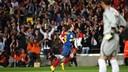 Andrés Iniesta fête le but face à Séville lors de la saison 2008-09 / PHOTO : ARXIU FCB