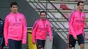 Suárez, Xavi y Busquets, en el entrenamiento de este domingo. FOTO: MIGUEL RUIZ-FCB.
