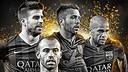 Piqué, Jordi Alba, Dani Alves et Mascherano / PHOTO: @FIFPro