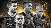 Fotomontagem com Piqué, Alba, Alves e Mascherano, nominados ao FIFPro 2014