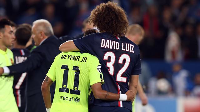Brazil team-mates Neymar and David Luiz will be on opposing sides tonight. PHOTO: MIGUEL RUIZ-FCB.