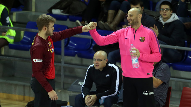 Gonzalo Pérez de Vargas i Danjel Saric, porters del Barça d'handbol / FOTO:MIGUEL RUIZ-ARXIU FCB