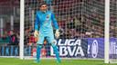 Jordi Masip, durante el partido con el Huesca / FOTO: GERMÁN PARGA-FCB