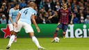 Dani Alves in the game from last season in the Etihad Stadium  / FCB-Archive