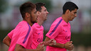 Neymar, Messi et Suarez à l'entraînement à la Ciutat Esportiva / PHOTO: MIGUEL RUIZ - FCB