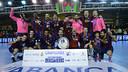 El Barça ha celebrado su 10a Copa Asobal, ganada en León / FOTO: Javier Quintana - Asobal
