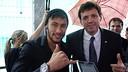 Neymar Jr and the vicepresident of FC Barcelona, Ramon Cierco, following the presentation / PHOTO: FCB