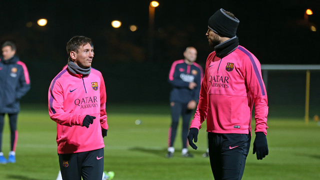 Leo Messi, back in training on Friday, with Gerard Piqué / PHOTO: MIGUEL RUIZ - FCB