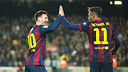 Leo Messi and Neymar celebrate one of the goals in Barça's 3-1 win over Atlético Madrid on Sunday night at Camp Nou. / PHOTO: VICTOR SALGADO - FCB