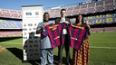 Otunba Michael Daramola, Laurent Colette of FCB and Pinkie Penelope Fouche at Camp Nou / FCB
