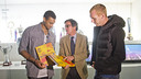 Edwin Jackson et Jérémy Mathieu au Musée du FC Barcelone / Photo Victor Salgado