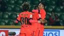 Douglas and Adriano celebrate fellow Brazilian Adriano's goal / PHOTO: MIGUEL RUIZ-FCB