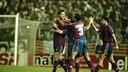 La vuelta contra el Espanyol, después de un 1-0 en la ida (1995/96). FOTO: ARCHIVO FCB.