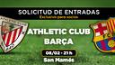 Entradas disponibles para socios para el partido de Liga entre el Athletic Club y el FC Barcelona