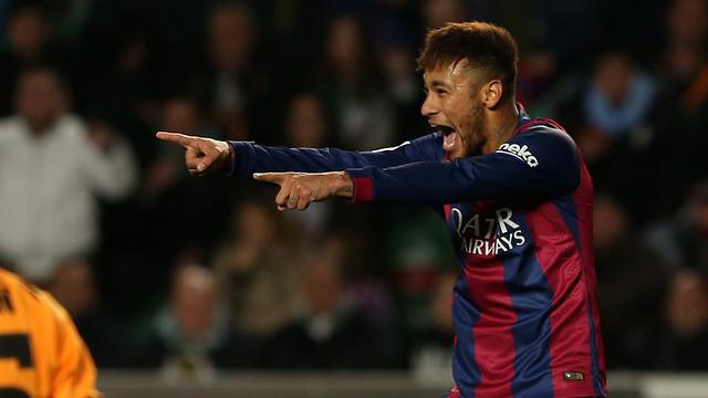 Neymar celebrates his first goal against Elche / PHOTO: MIGUEL RUIZ - FCB