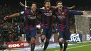 Suárez, Neymar and Messi celebrating the third goal against Atlético / CORDON PRESS