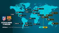 Os horários do Atlético x Barça em todo o planeta