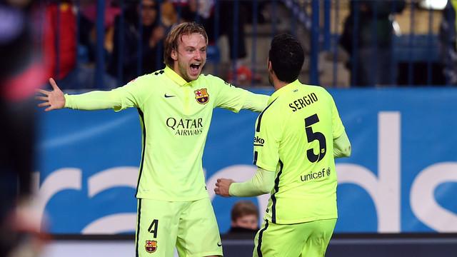 El centrocampista del FC Barcelona, Ivan Rakitic, se ha mostrado satisfecho con el trabajo realizado en el Vicente Calderón